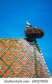 View of a nest with storks, symbol of the historic town of Colmar, also known as Little Venice, Colmar, Alsace, France