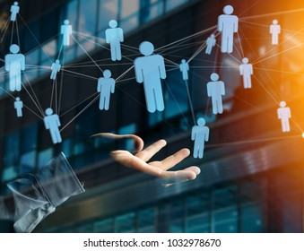 View of a Network connection with people linked each other - Business and communication concept