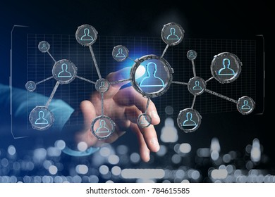 View of a Network connection with people linked each other in technology wheel - 3d rendering