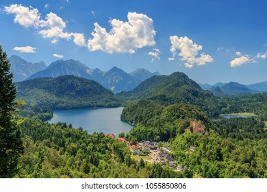 View from Neuschwanstein Castle to the Alpsee and Schwansee with Hohenschwangau Castle