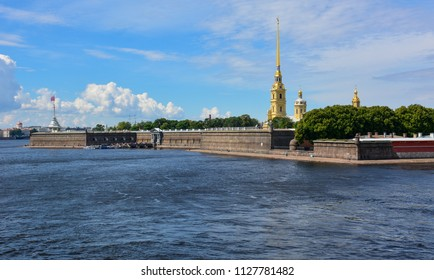 View of the Neva and Peter and Paul Fortress, Saint Petersburg, Russia