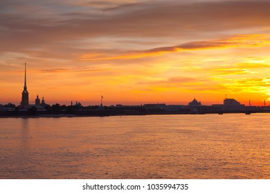 view of Neva river in dawn. Saint Petersburg, Russia