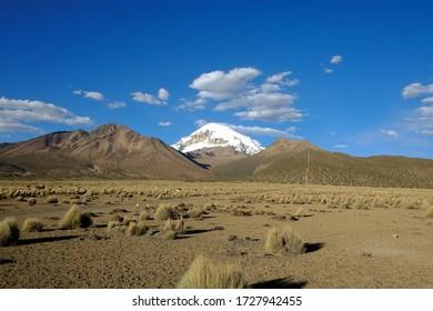 View of the Nevado Sajama in the Sajama National Park, Bolivia
