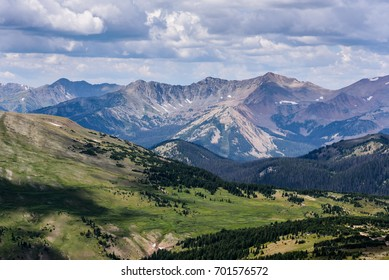 View of the Never Summer Mountains from Trail Ridge Road in Rocky Mountain National Park, Colorado