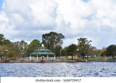 View of New Bern North Carolina from the water side on the Neuse river bank. Small southern town post Hurricane Florence. Ideal for background with space for copy.