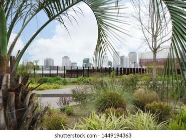 View of New Orleans skyline from along the Mississippi River