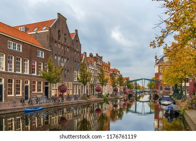 View of New Rhine river in Leiden downtown, Netherlands