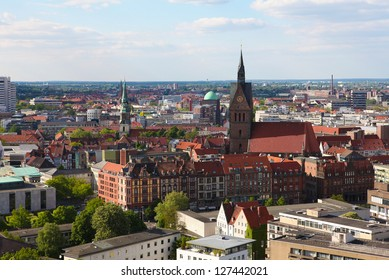 View from the New Town Hall on the Market Church and old houses in the center of Hannover, Lower Saxony, Germany.
