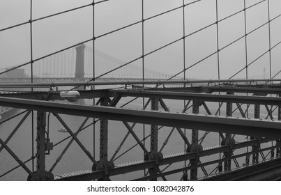 A view of New York City, from the Brooklyn Bridge.