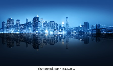 A view of New York city at night time