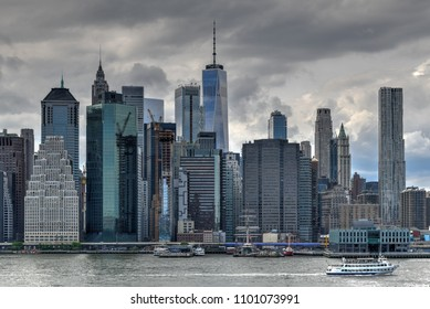 View of the New York City skyline from Brooklyn Heights.