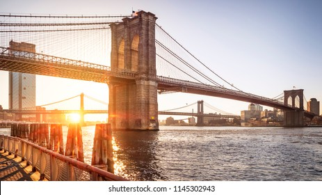 View of New York city in the USA at sunrise showcasing the Brooklyn