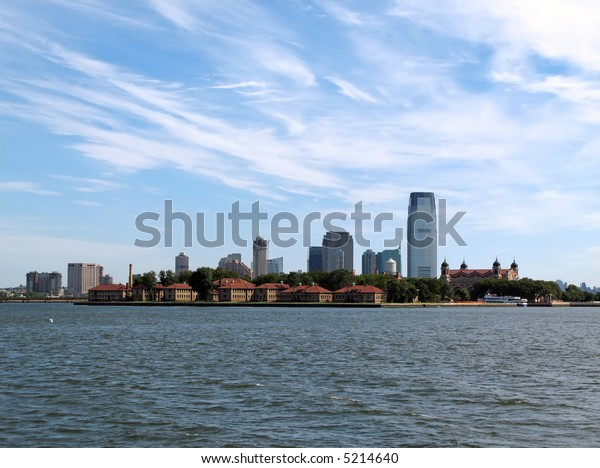 View of New York Harbor, Ellis Island, and Jersey City.