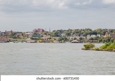 View of Newburgh riverfront from Long Dock Park in Beacon, New York.