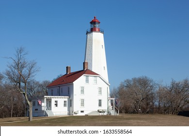 A view of the newly refreshed and painted Sandy Hook Lighthouse at Fort Hancock in Sandy Hook, New Jersey. Photo taken during January, 2020.