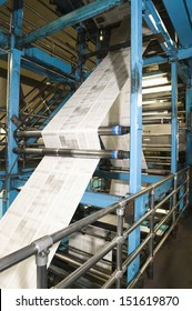 View of newspaper production and printing process