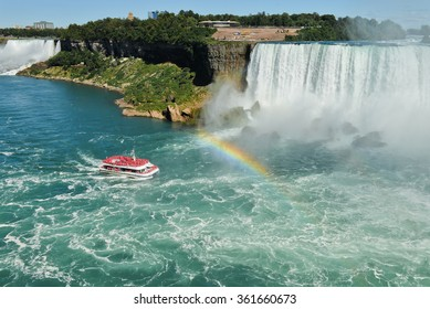 The view to the Niagara fall and a rainbow
