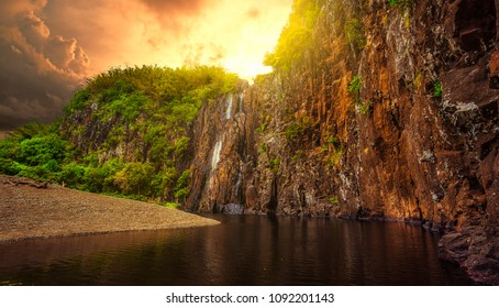 View of the Niagara waterfall at SAinte Suzanne in the north-east of Reunion Island