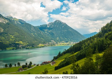 View of the nice Achensee in the Tyrolean alps