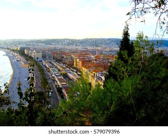 View of Nice city, Promenade des Anglais, Cote d'Azur, French riviera, Mediterranean sea, France