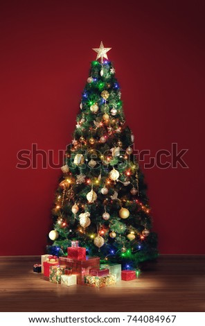 View Nice Decorated Christmas Tree Some Stock Photo (Edit Now ...