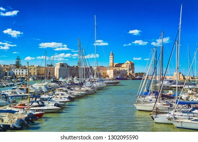 View of a nice fishing harbor and marina in Trani, Puglia region, Italy