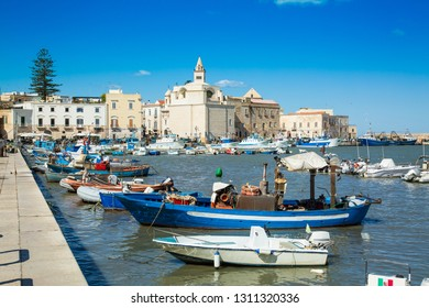 View of a nice fishing harbor and marina in Trani, region Puglia, Italy