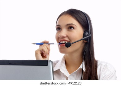 view of nice young woman operator at her working place