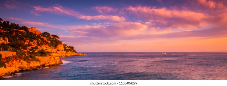 View of Nice'coastline at sunset, French Riviera, Francde