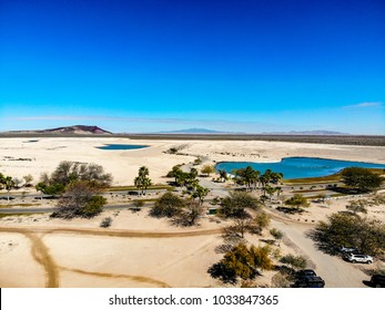 View of Nicklaus designed Islas Del Mar Golf Course in Cholla Bay, Puerto Penasco, Sonora, Mexico looking towards the Pinacate Biosphere