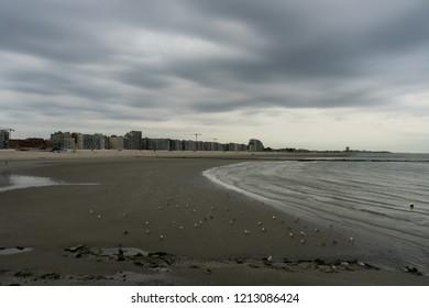 View of Nieuwpoort a belgium coastal beach city in West Vlaanderen.