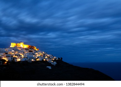 A view of night in Astypalaia Greece.