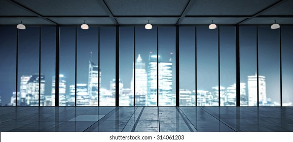View of a night city from office window