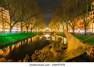 View of night Dusseldorf in Germany.
