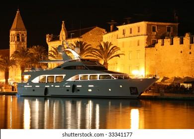 View of night harbour of Trogir (Croatia)