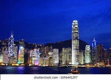 view of night Hong Kong skyline. China. 24 June 2008