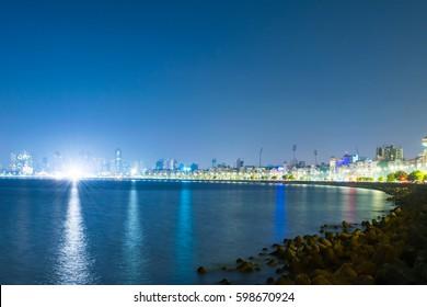 View at night from Marine drive , Mumbai.