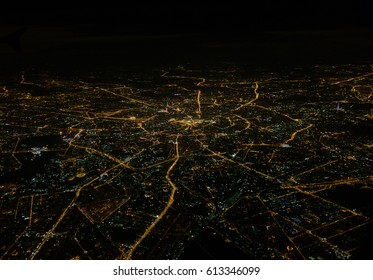 View of night Moscow, Garden Ring from the plane, Russia