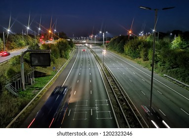 View of night motoraway from top bridge