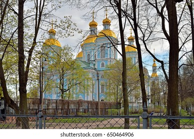 View of Nikolsky Cathedral and the Park in the spring in Saint-Petersburg.