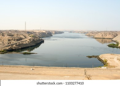 View of the Nile River from the Aswan Dam, in Aswan, Egypt.