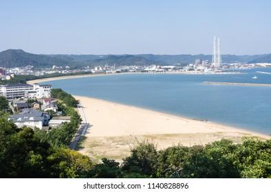 View of Nishinohama beach and Karatsu bay from Karatsu castle hill - Karatsu city, Saga prefecture