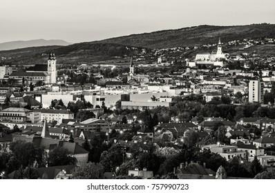View of the Nitra city, Slovak republic, Europe. Evening urban scene. Black and white photo.
