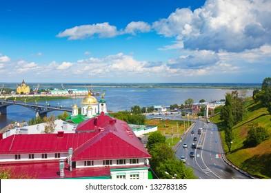 View of Nizhny Novgorod. Kanavinsky bridge and Junction of Oka river with Volga River