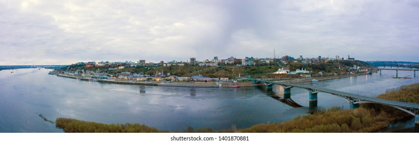 View of the Nizhny Novgorod Kremlin and the old city from the side of the river. Shooting from the air. Nizhny Novgorod, Russia.