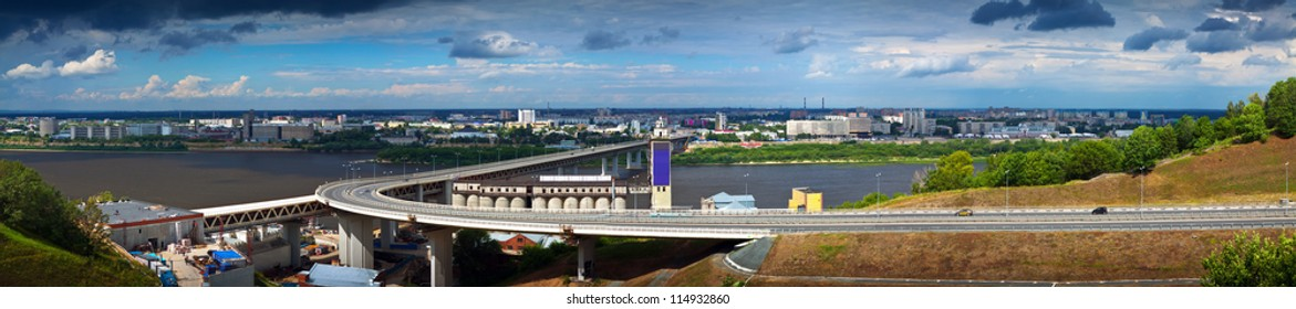 View of Nizhny Novgorod.  Metro Bridge through Oka River. Russia