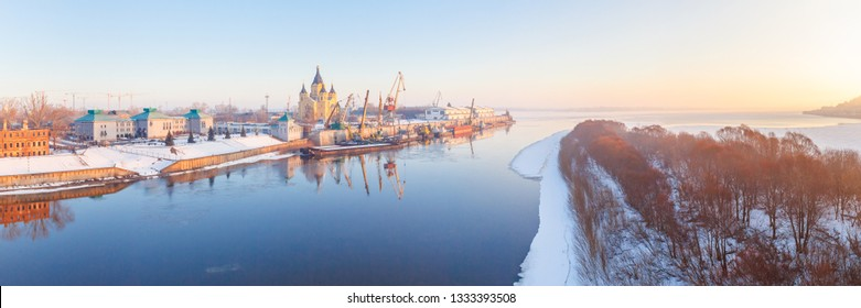 View of the Nizhny Novgorod river confluence at dawn in the spring, Russia