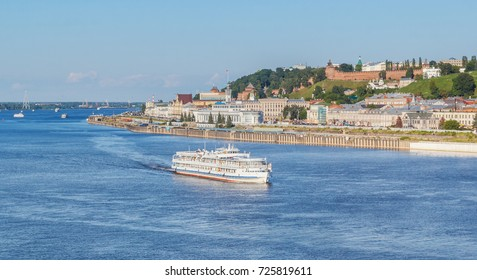 View of Nizhny Novgorod and the ship goes along the river