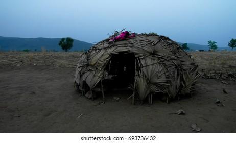View to nomadic Wodaabe aka Mbororo tribe village near Poli, Cameroon