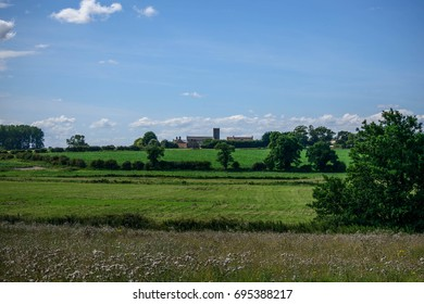 View of Norfolk Fields and Church, UK